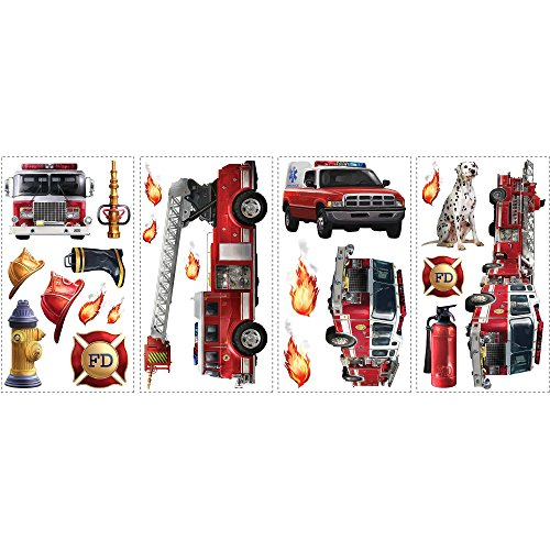 ON Kids Red White Yellow Fire Trucks Wall Decals Set, Vehicle Themed Wall Stickers Peel Stick, Fun Brigade Hydrant Hose Dalmatian Water Heroes Rescue Decorative Graphic Mural Art, (Fire Brigade Peel)