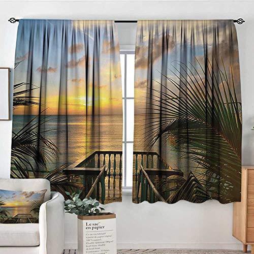 Mozenou Ocean Blackout Window Curtain Mediterranean Horizon Seascape from Wooden Terrace Balcony Fences Holiday Life Photo Waterproof Window Curtain 55