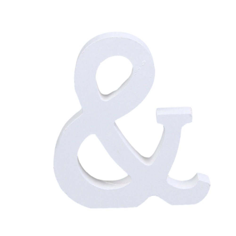 CHIC*MALL English Letter Ornaments Modern White Wood Home Wedding Decoration (&)