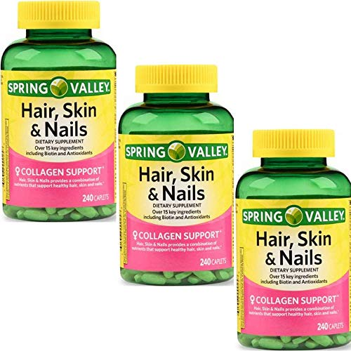 Spring Valley - Hair, Skin & Nails, Over 20 Ingredients Including Biotin and Collagen, 240 Caplets (3 Pack)
