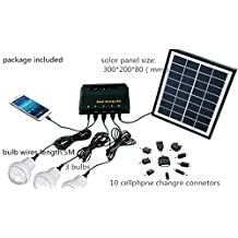 Best to Buy 5W anel Solar Home System Kit - Including Cell Phone Charger - 3 Strong LED Lights,Portable Solar Charger with LED Light Bulb Flashlight as Emergency Light/ Garage Cabin RV Wireless Lighting System/ Camping Trekking Search & Rescue Remote Lighting Kit