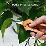 VIVOSUN Gardening Hand Pruner Pruning Shear 13 REDUCE HAND STRAIN: These micro tip snips are built spring-loaded so that they automatically push themselves open without you having to do the work which greatly reduces hand fatigue making these snips great for those with arthritis, carpal tunnel, hand or wrist issues. Comfort Grip handles will make it easy to work for long periods of time without discomfort ULTRA SHARP BLADES: These quality snips come with stainless steel precision-sharpened blades and are ready to tackle all of your deadheading, trimming, and shaping needs for your roses, annuals, vegetable and small flower gardens SECURE, EASY TO OPERATE LOCK: These micro tip snips feature a safe and secure sideways locking mechanism that keeps your blades protected and closed when not in use. The design of these pruning snips are perfect to use whether you are right or left handed with ease