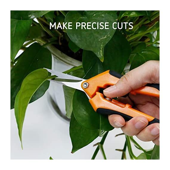 VIVOSUN Gardening Hand Pruner Pruning Shear 6 REDUCE HAND STRAIN: These micro tip snips are built spring-loaded so that they automatically push themselves open without you having to do the work which greatly reduces hand fatigue making these snips great for those with arthritis, carpal tunnel, hand or wrist issues. Comfort Grip handles will make it easy to work for long periods of time without discomfort ULTRA SHARP BLADES: These quality snips come with stainless steel precision-sharpened blades and are ready to tackle all of your deadheading, trimming, and shaping needs for your roses, annuals, vegetable and small flower gardens SECURE, EASY TO OPERATE LOCK: These micro tip snips feature a safe and secure sideways locking mechanism that keeps your blades protected and closed when not in use. The design of these pruning snips are perfect to use whether you are right or left handed with ease