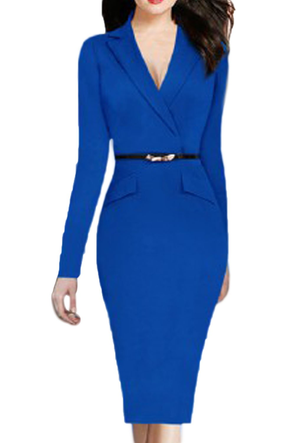 Women Elegant Long Sleeve Office A-line Peplum Bottom Dress With Belt CAK69A