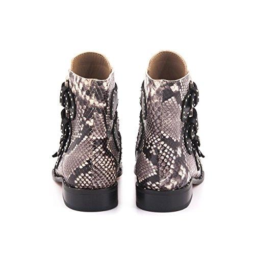 Stivali Da Donna Rouge Stivali Da Caviglia Stile Cowboy Stivaletti In Pelle Di Alta Qualità Con Fibbie Decorate Con Pietre