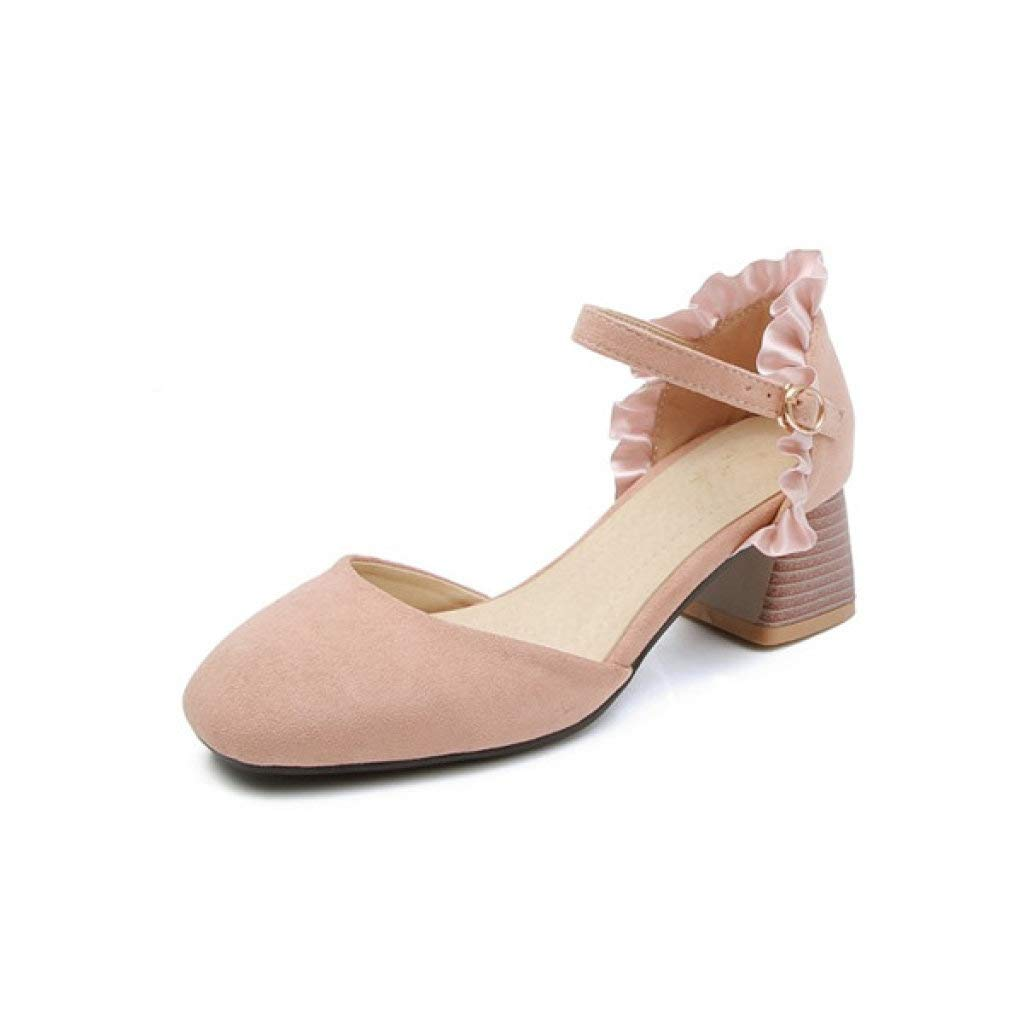 LVYING Womens Chunky Med Heels Sandals Girls Sweet Ruffles Closed Toe Flock Wedding Summer Ankle Strap Shoes