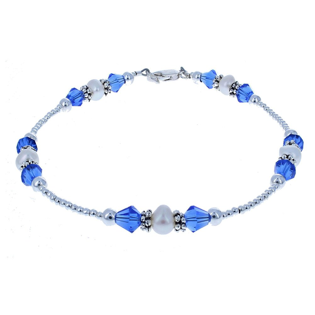 Timeless-Treasures Genuine Fresh Water Cultured Pearls, Blue Czech Fire Polished Glass & Sterling Anklet w/Daisies - 12''