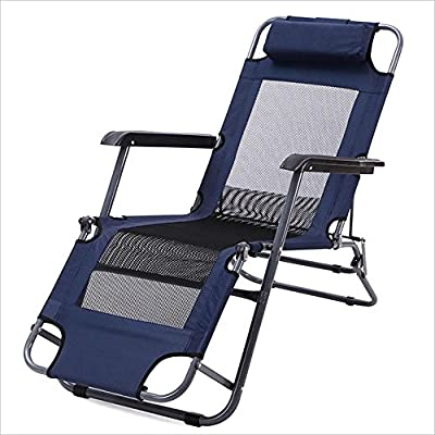Chairs XEWNG Folding single napping bed simple breathable lounge outdoor indoor (Color : Navy Blue, Size : 177cm)