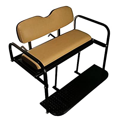 EZGO TXT Golf Cart Rear Flip Folding Back Seat Kit, 1995 and Up (Tan Cushions)