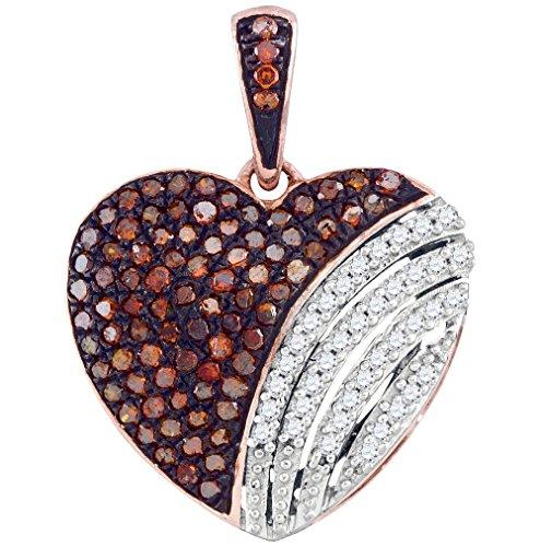 Tdw Brown Diamond Necklace - Brandy Diamond Dark Chocolate Brown 10k Rose Gold Fine Heart Necklace Pendant 1/3 Ctw.