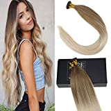 Sunny Hair Extensiones Balayage Blonde Extensions Human Hair 22Inch Remy I Tip Fusion Stick Human Hair Extensions 50 Strands with Salon Style