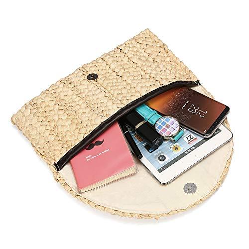 Purse Woven Handbag Wallet Hasp Beach Women Straw Clutch Envelope Bag Beige Bag Bag 6xq4C