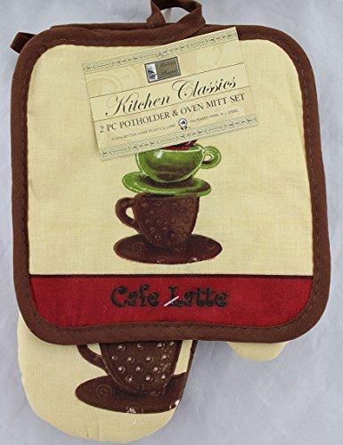 home plastics corp 2 Pcs, Cafe Latte 1 Pot Holder, 1 Oven Mitt, 100% Cotton ()