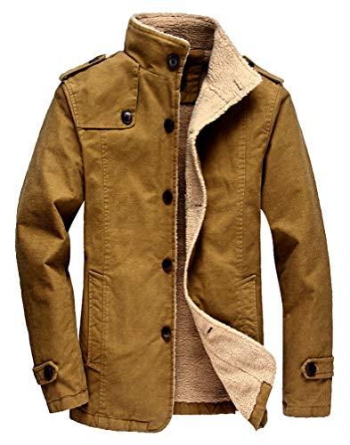(Vcansion Men's Winter Fleece Windproof Jacket Outerwear Single Breasted Classic Cotton Windbreaker Jacket Coats Khaki Yellow XL )