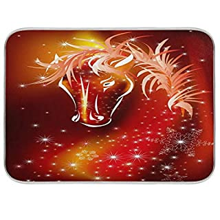 Nander Snow Firework Horse Dish Drying Mat for Kitchen Counter, Absorbent Reversible Dish Draining Mat,Rack Pad for Countertop, 16 x 18 Inches