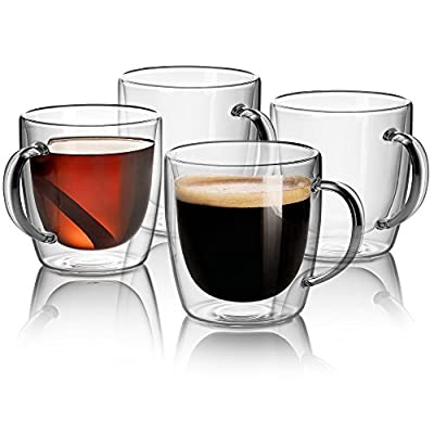 Jecobi élite Strong Double Wall Glass 14 oz coffee cups insulated coffee mug gifts Set Of 2, Dishwasher. Microwave, freezer with NO RISK.
