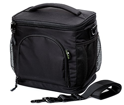 Insulated Lunch Bag by UnitedLuk, Soft Cooler, Large Adult Lunch Box for Men and Women, Black Thermal Food Tote for 3 Bento Lunch-boxes Set + Double-sewn Nylon, Best Zippered with Pockets, Metal Clips -