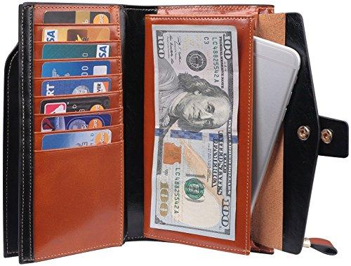 Travelambo Womens RFID Blocking Large Capacity Luxury Waxed Genuine Leather Clutch Wallet Multi Card Organizer (tan) by Travelambo (Image #7)