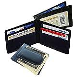 Black Men's Leather Magnetic Money Clip Bifold Wallet Id Card Slim Front Pocket