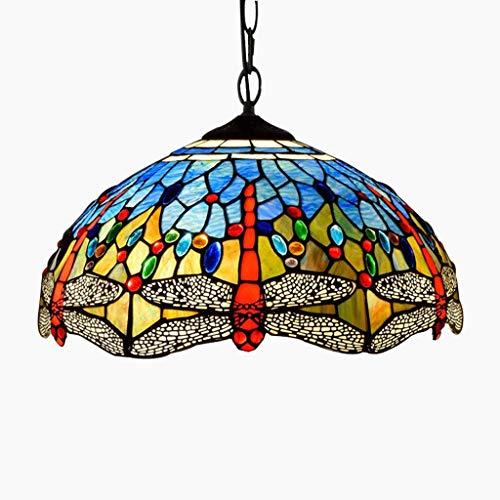 - Tiffany Style Chandelier, 16-Inch Blue Dragonfly Glass Art Personality Restaurant Bar Lighting