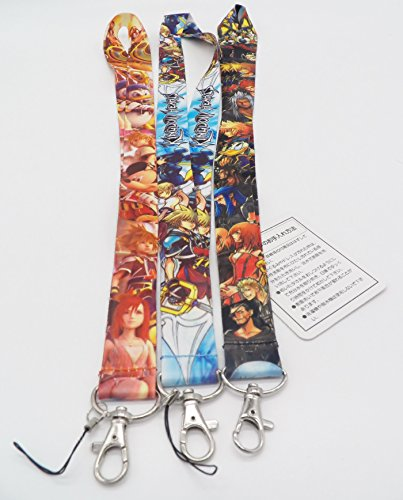 Yuna Kingdom Hearts - 3 Kingdom Hearts Cell Phone Key ID Badge Lanyard Strap Set