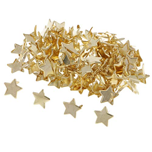 Fityle 100 Pieces Star Head Metal Brad Paper Fastener Embellishments for Kids Cardmaking Scrapbooking Art Crafts 14mm Gold