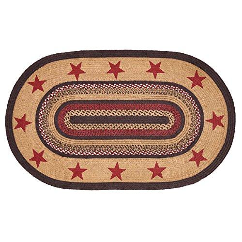 - Classic Country Primitive Flooring - Landon Tan Stenciled Stars Oval Jute Rug, 3' x 5'