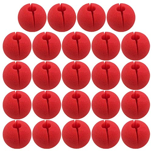 Mcree 24Pcs Red Foam Nose Circus Clown Nose, Novelty Clown Nose Value Pack for Circus Costume Party, Halloween, Red Nose Day, Activity Trick Toys, Cosplay & -