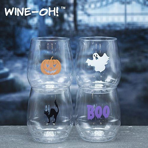 Halloween Glasses - 4-pack Wine-Oh! Designer BPA Free Plastic Shatterproof Wine Glass (HALLOWEEN)