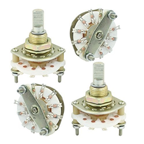 Water /& Wood 4PCS Band Channael Rotary Switch 1P10T 1 Pole 10 Position Single Deck