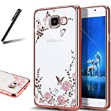 Galaxy A5 2017 Case,Galaxy A5 2017 Cover,SKYMARS Electroplating Butterfly Flower Bling Glitter Diamond Clear TPU Back Transparent Soft Flexible Silicone Bumper Protective Case For Samsung Galaxy A5 2017 (SM-A520) - Rose Gold