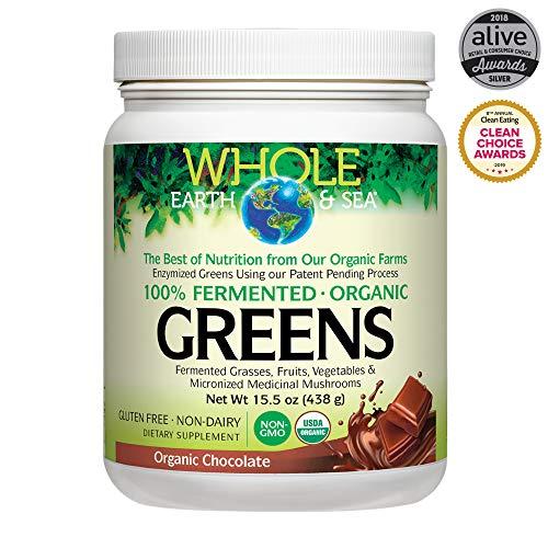 (NATURAL FACTORS Whole Earth & Sea Organic Greens Chocolate, 438 GR )