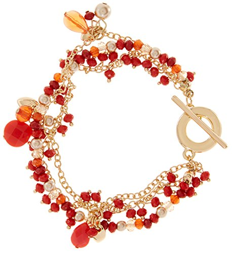 Rows Red Coral Bracelet (Chaps 3 Row Coral Red Bead & Faux Pearl Toggle Bracelet Dark coral red/gold tone)