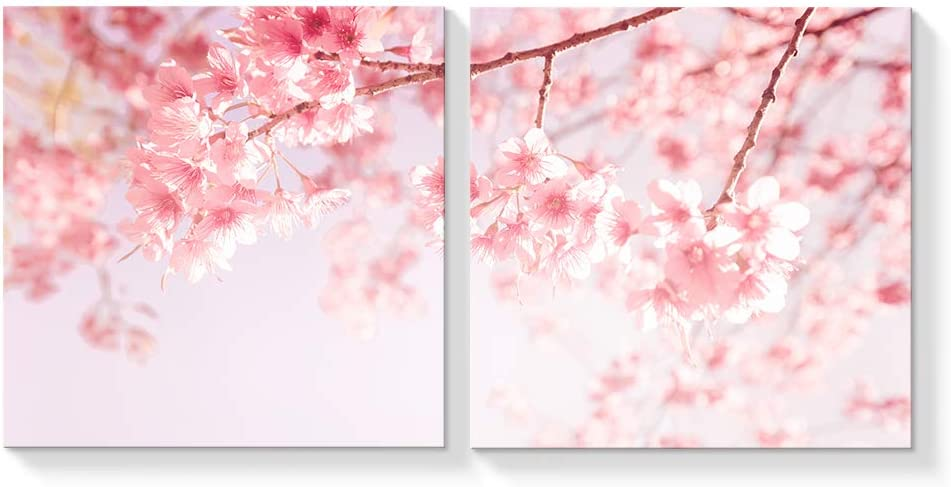 SIGNFORD 2 Panel Canvas Wall Art Japan Pink Cherry Canvas Painting Wall Decor for Living Room Framed Home Decorations -