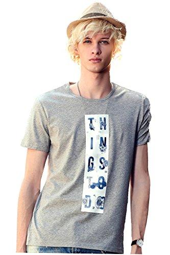 tton Short Sleeve Round Neck T-shirt Letter Printing Stylish Tee Shirt,Light Heather Grey XXL (Stylish Letter Pattern)