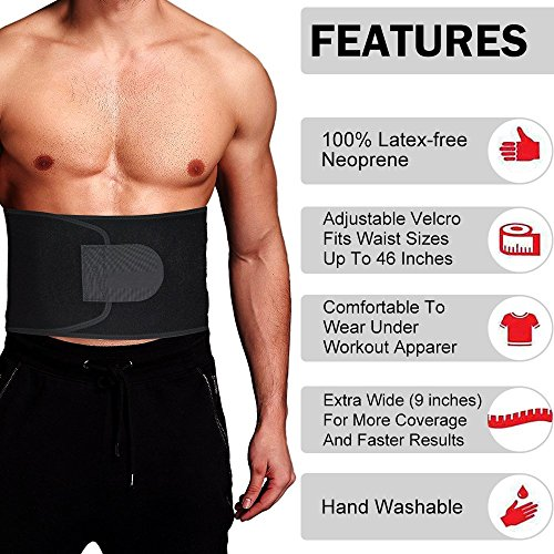 Singular point Waist Trimmer,Best Abdominal Trainer Fast Weight Loss Wrap Adjustable Sweat Belt for Men and Women Lumbar Support Increased and Stomach Fat Burner with Sauna Suit Effect (Black, M) by Singular point (Image #4)