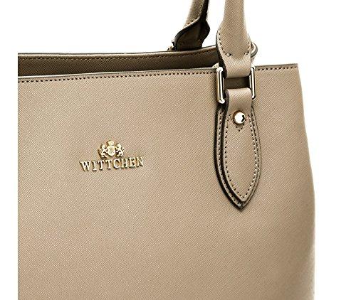 WITTCHEN Elegante Tasche | 30x35cm, Narbenleder | Passend für A4 Größe: Nein | Beige, Kollektion: Elegance | 84-4E-432-5L