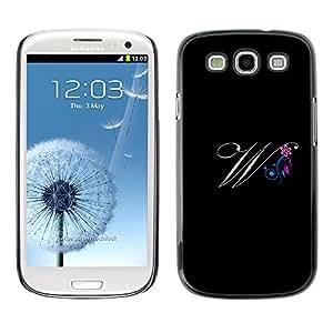 Paccase / SLIM PC / Aliminium Casa Carcasa Funda Case Cover para - Black Initials Letter Calligraphy Text - Samsung Galaxy S3 I9300