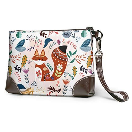 Women's Leather Zipper Wristlet Fox Flower Leaves Cellphone Card Wallets Clutch Holder Purse