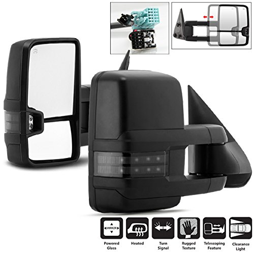 (For 03-06 Chevy Silverado Suburban Tahoe GMC Sierra Yukon Pickup Truck Extending Power Heated Tow Mirrors w/Smoked Signal)