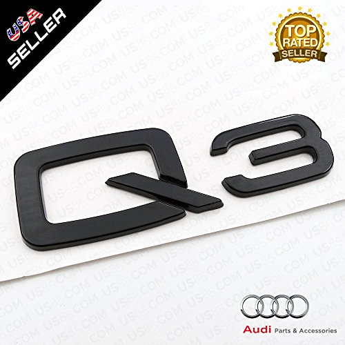 US85 OEM ABS Nameplate Q3 Gloss Black Emblem 3D Trunk Logo Badge Decoration