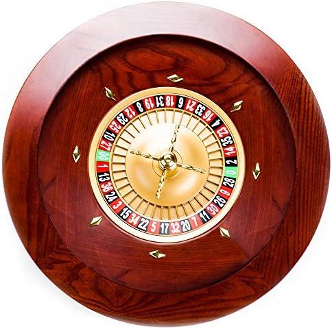 Brybelly Deluxe Holz-Roulette-Rollenset – Rot/Braun Mahagoni mit Doppel-Null-Layout, Casino-Grade Präzisionskugellager, Luftfahrt-Aluminium-Schale, verchromter Messing-Turm,Spiel Night Essential