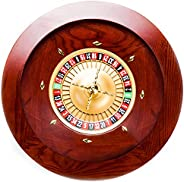 Brybelly Deluxe Wooden Roulette Wheel Set - Red/Brown Mahogany with Double-Zero Layout, Casino Grade Precision