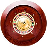 Brybelly Deluxe Wooden Roulette Wheel Set - Red/Brown Mahogany with Double-Zero Layout, Casino Grade Precision Bearings, Aircraft Aluminum Dish,Chrome-Plated Brass Turret, Game Night Essential