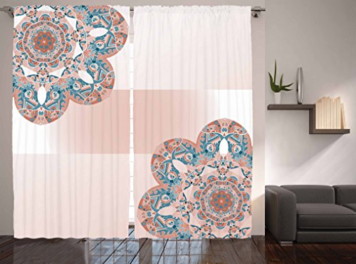 """Ambesonne Mandala Curtains, Floral Motifs Framework Ombre Color Bands Old Fashioned, Living Room Bedroom Window Drapes 2 Panel Set, 108"""" X 90"""", Salmon White"""