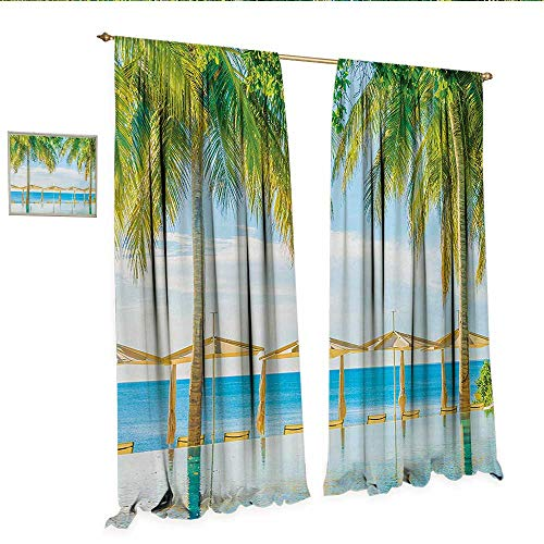 (Landscape Patterned Drape for Glass Door Exotic Beach with Pool Nature with Soft Sun Rays Fantastic Holiday Theme Print Window Curtain Fabric W96 x L84 Green Blue.jpg)