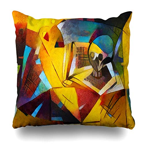 Ahawoso Throw Pillow Cover Square 18x18 Inches Painting Cubism Alternative Famous Paintings Exclusive by Picasso Abstract Watercolor Impressionism Cushion Case Home Decor Pillowcase ()