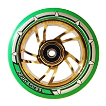 Team Dogz 110mm Swirl Scooter Wheel - Chrome Gold Core with Green Tyre