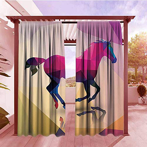 (Curtains Rod Pocket Two Panels Geometric Decor Shaded Geometric Abstract Horse Pattern Indie Novelty Symbol Print Home Decor Draft Blocking Draperies W84x96L Cream Pink Purple)