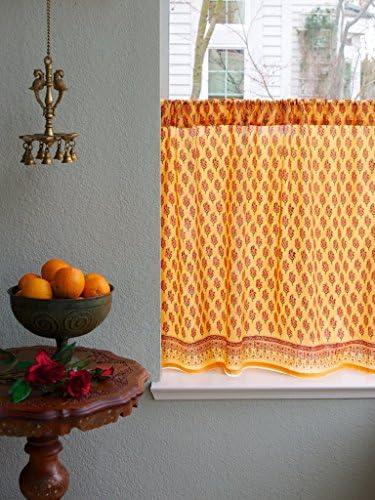 Saffron Marigold – Indian Summer – Orange Paisley Indian Sari Inspired Hand Printed – Sheer Cotton Voile Kitchen Curtain Panel – Rod Pocket – 46 x 30 inches
